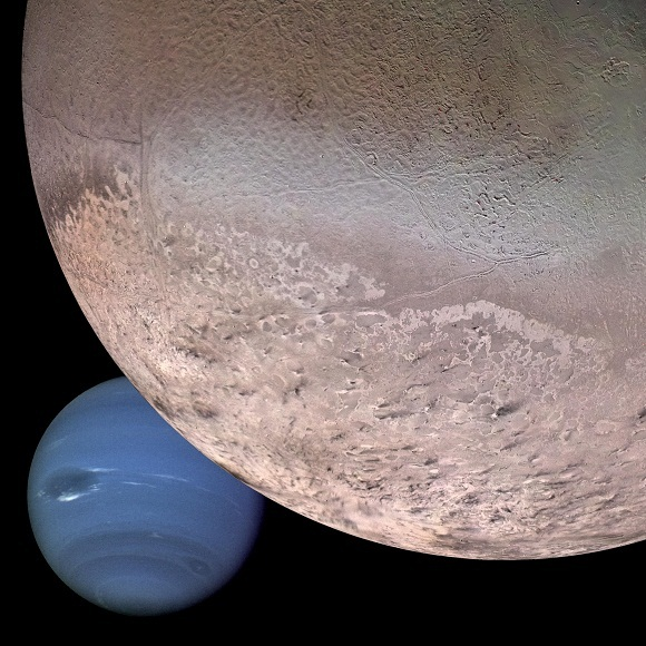 Image of Triton and Neptune