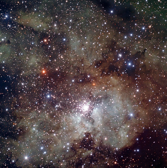 "Stars of NGC 3603. This is a ""starburst region"" : a cosmic factory where stars form frantically from a nebula's extended clouds of gas and dust. Located 22 000 light-years away from the Sun, this is the closest region of this kind known in our galaxy. (Image credit: ESO)"