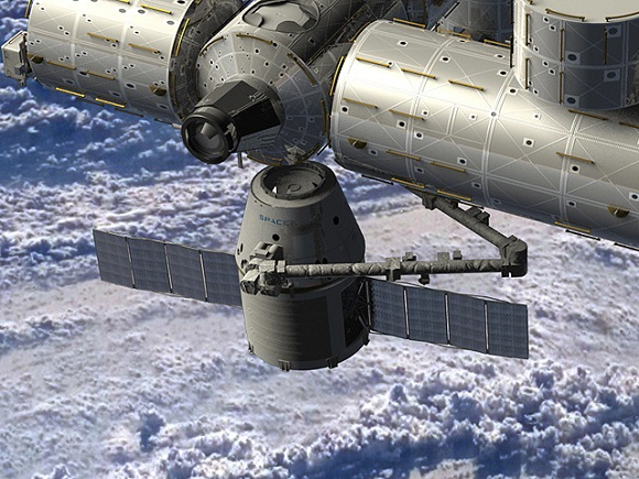 Image of Dragon at ISS
