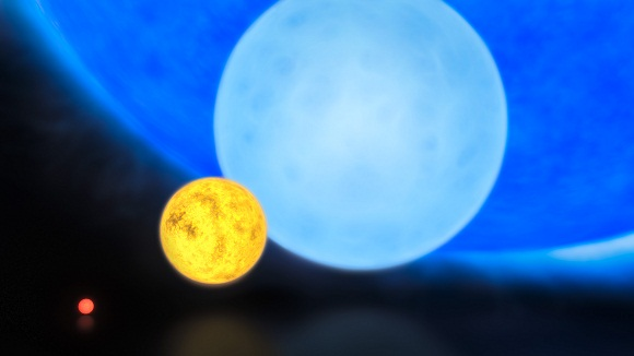 Star types from left to right: a red dwarf, our Sun, a blue dwarf, and R136a1 (hypergiant). Where star sizes are measured by radius, from centre to surface, and where 1 solar radius is equal to that of our Sun (km) - R136a1's radius is 35.4 times greater than the Sun [approximately 24.8 million km]. Credit: Author: ESO/M. Kornmesser