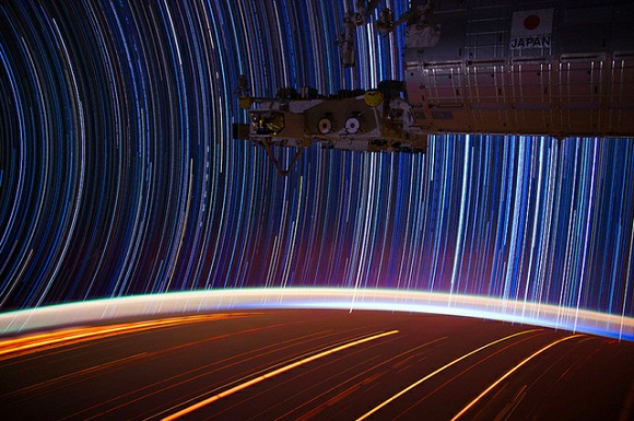 Image of ISS star trails