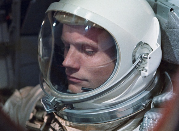 image of Armstrong in Gemini spacesuit