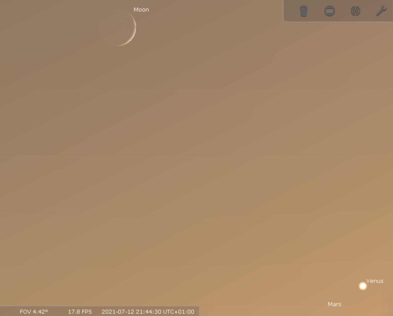 Mars and Venus conjunction (Credit: Nick Parke/Stellarium)