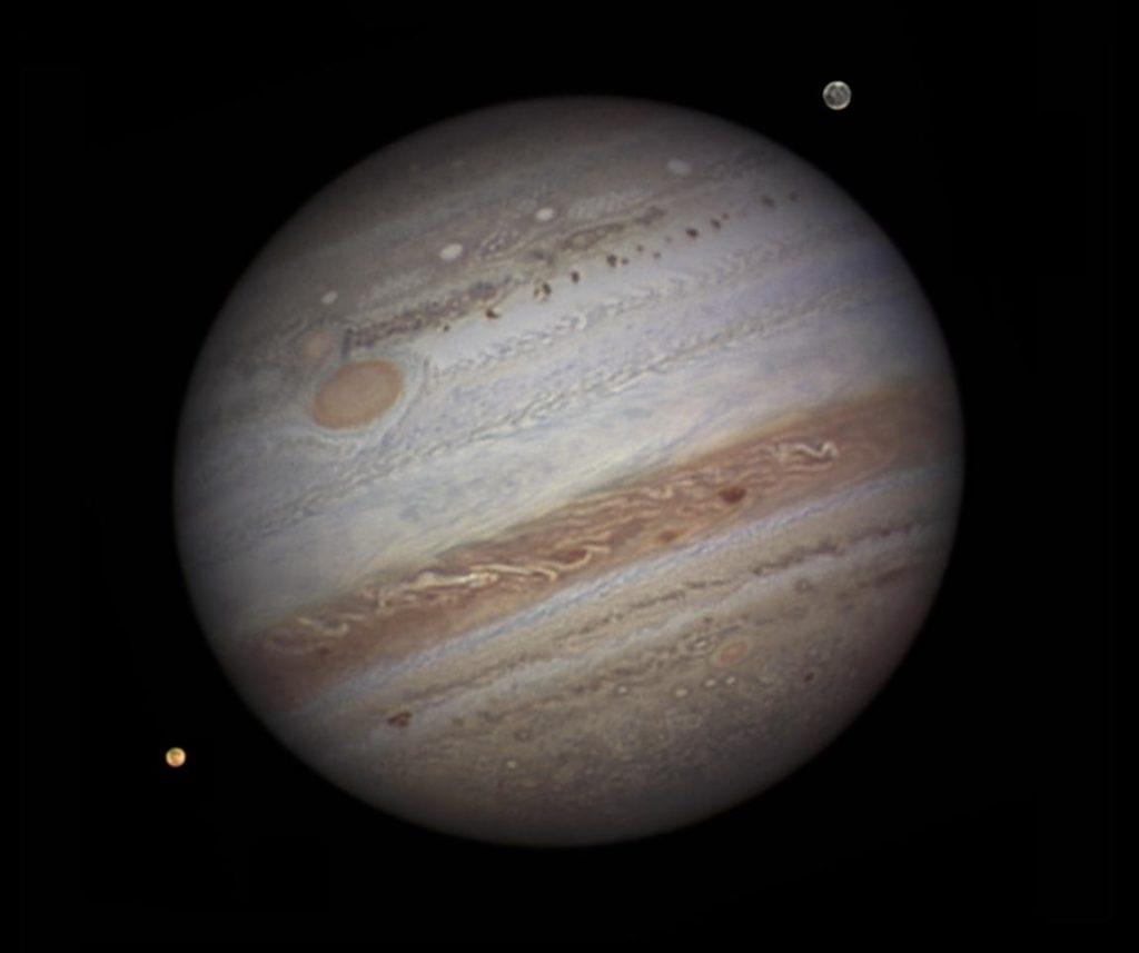 Jupiter near opposition, Io and Ganymede (Credit: NASA / Damian Peach)